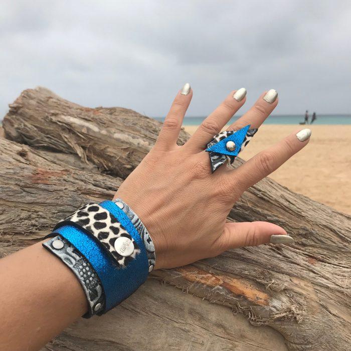 blue passion set leather wrap bracelet ring evileve
