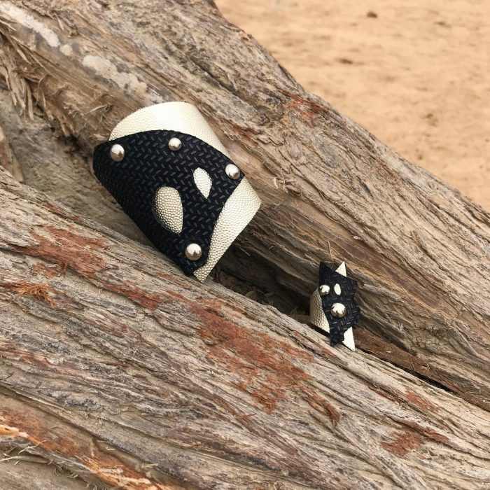 rockangel platinum black set leather bracelet ring evileve