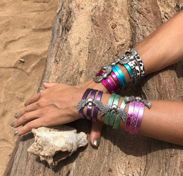 angelwings hotpink leather 2in1 bracelet necklace evileve