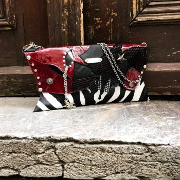 leather clutch burgundy zebra evileve