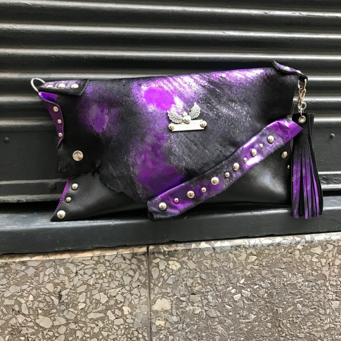 leather clutch purple cavallino evileve