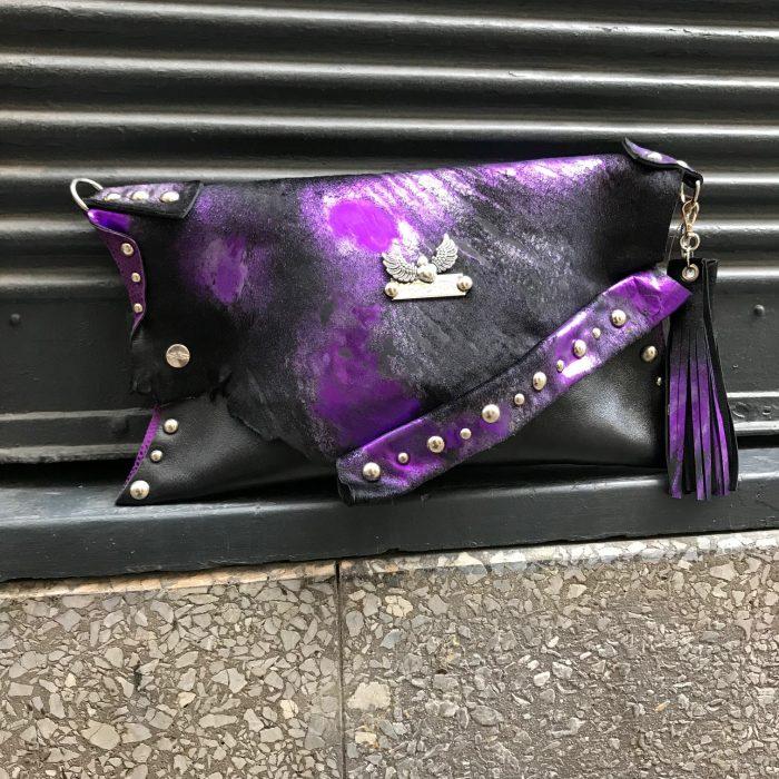 leather clutch purple cavallino evileve