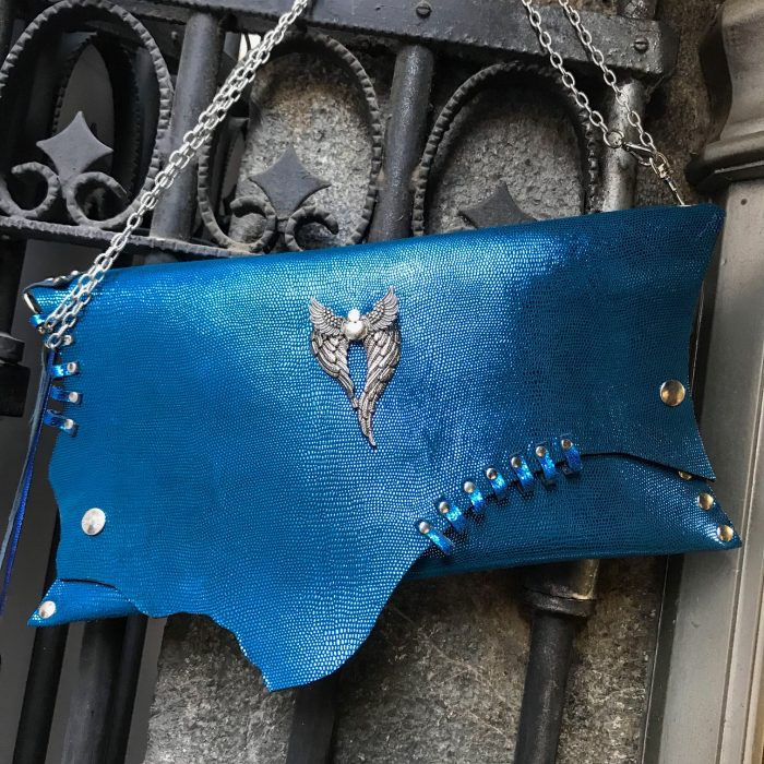 leather clutch blue angel evileve