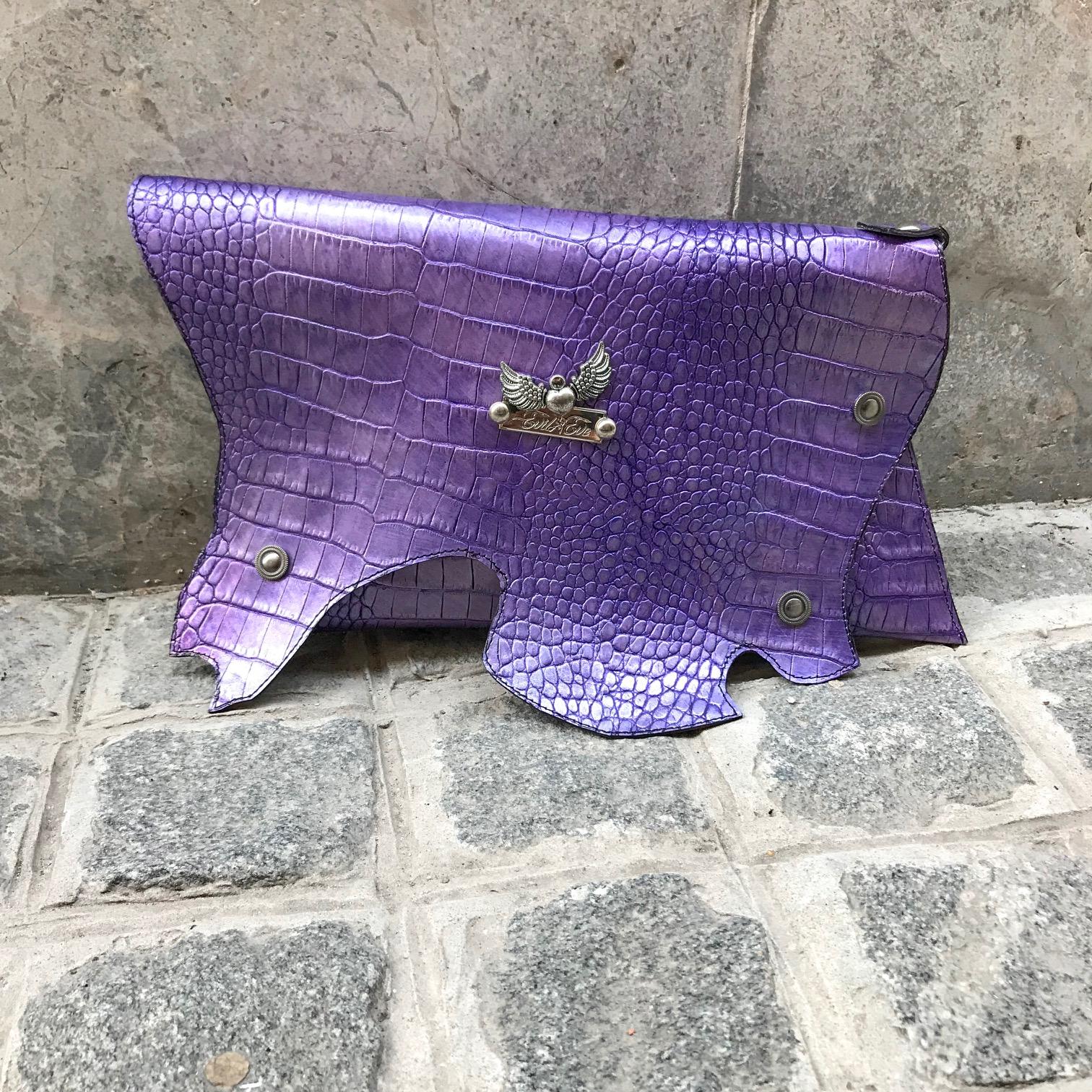 leather clutch purple sugar evileve