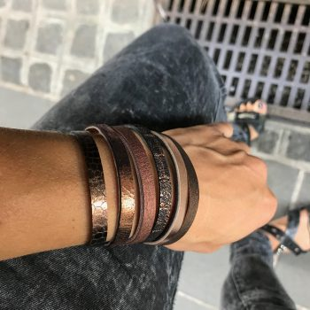 chic bronze double face leather bracelet evileve