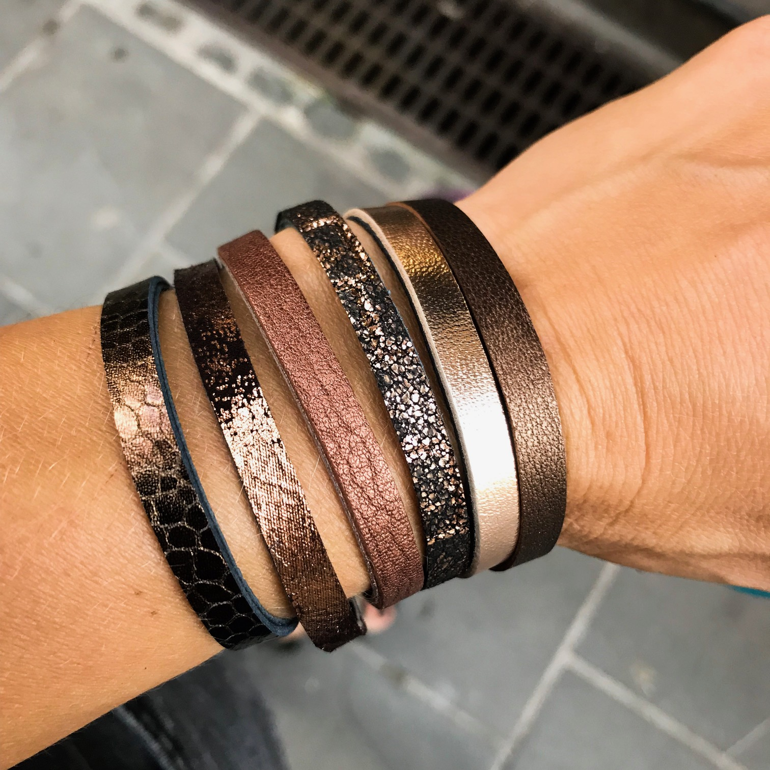 chic bronze double face leather bracelet evileve