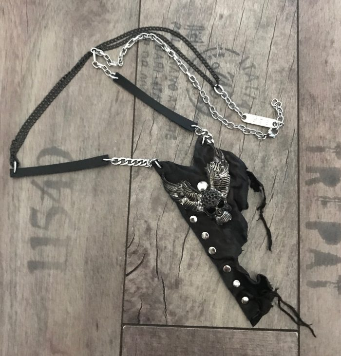 Rockstar skull leather stainless steel necklace men evileve