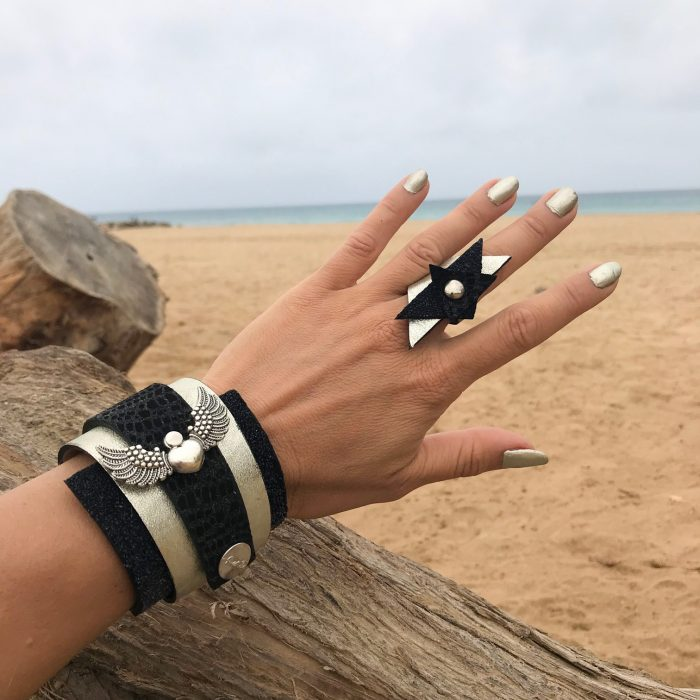 angel passion set leather wrap bracelet ring evileve