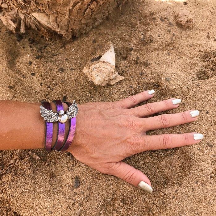 angelwings 2in1 leather bracelet necklace purple evileve