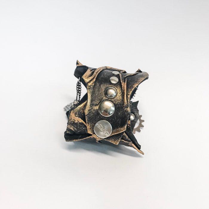 steampunk bronze leather bracelet evileve
