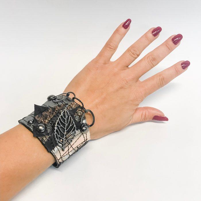 steampunk leaf leather bracelet evileve