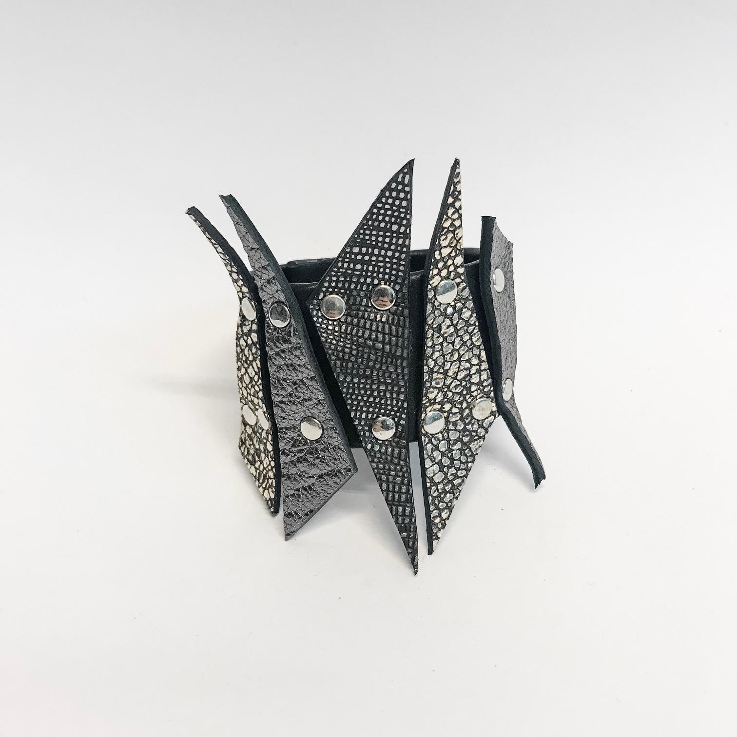 spike leather bracelet evileve