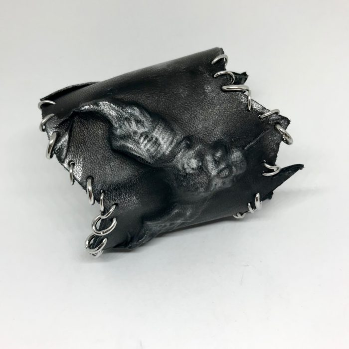 skull rockstar leather bracelet