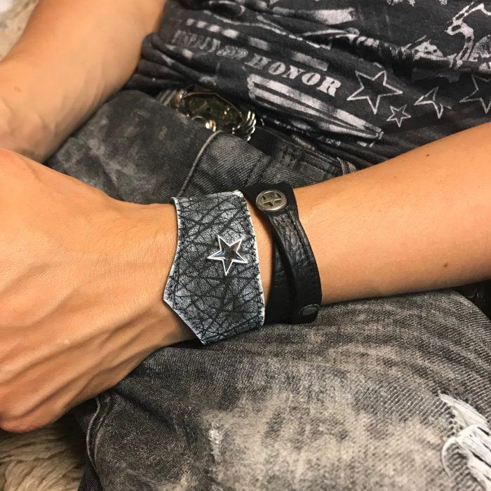 leather bracelet classic metal star duo evileve
