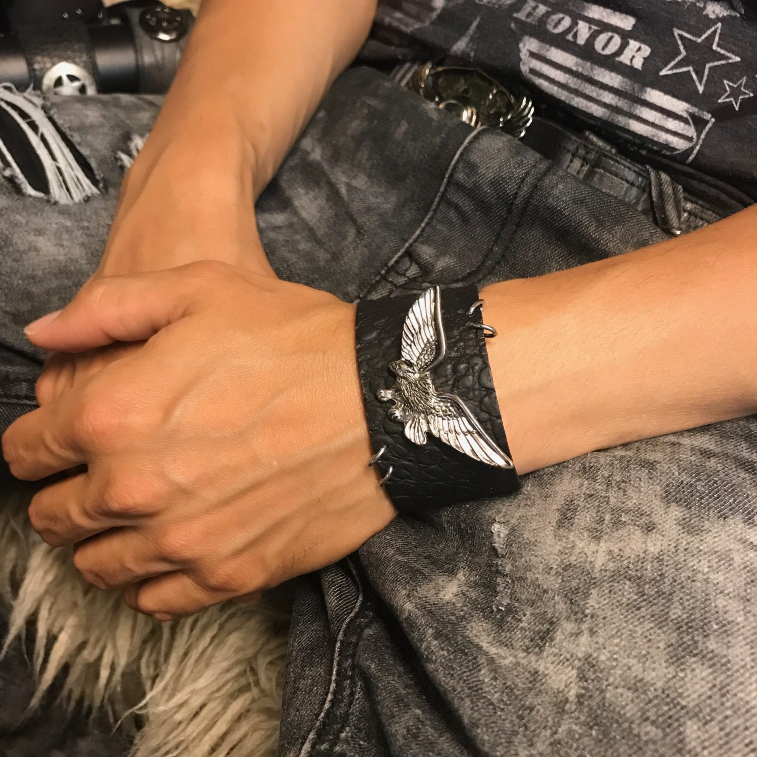 leather bracelet eagle rocker evileve