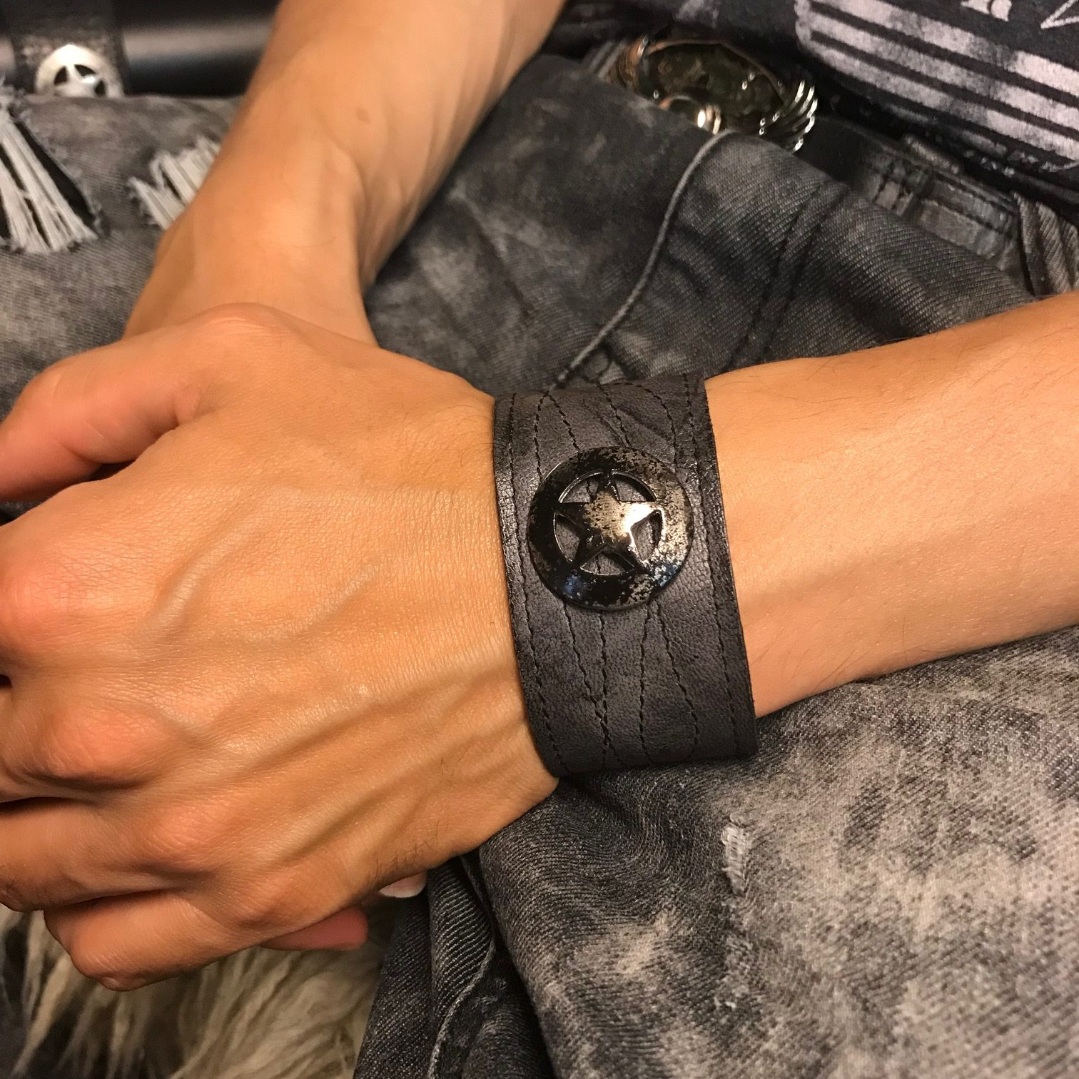 star rocker leather bracelet evileve