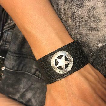 star rocker black leather bracelet evileve