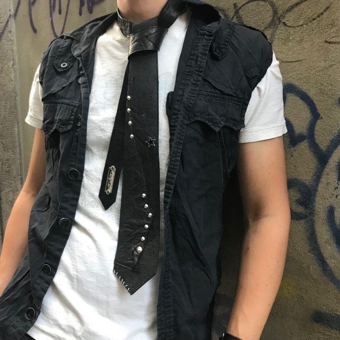 blackstar basic leather tie unisex evileve