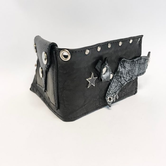 unique leather men wallet blackstar studs evileve