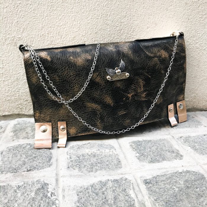 unique leather clutch chic black rosegold evileve