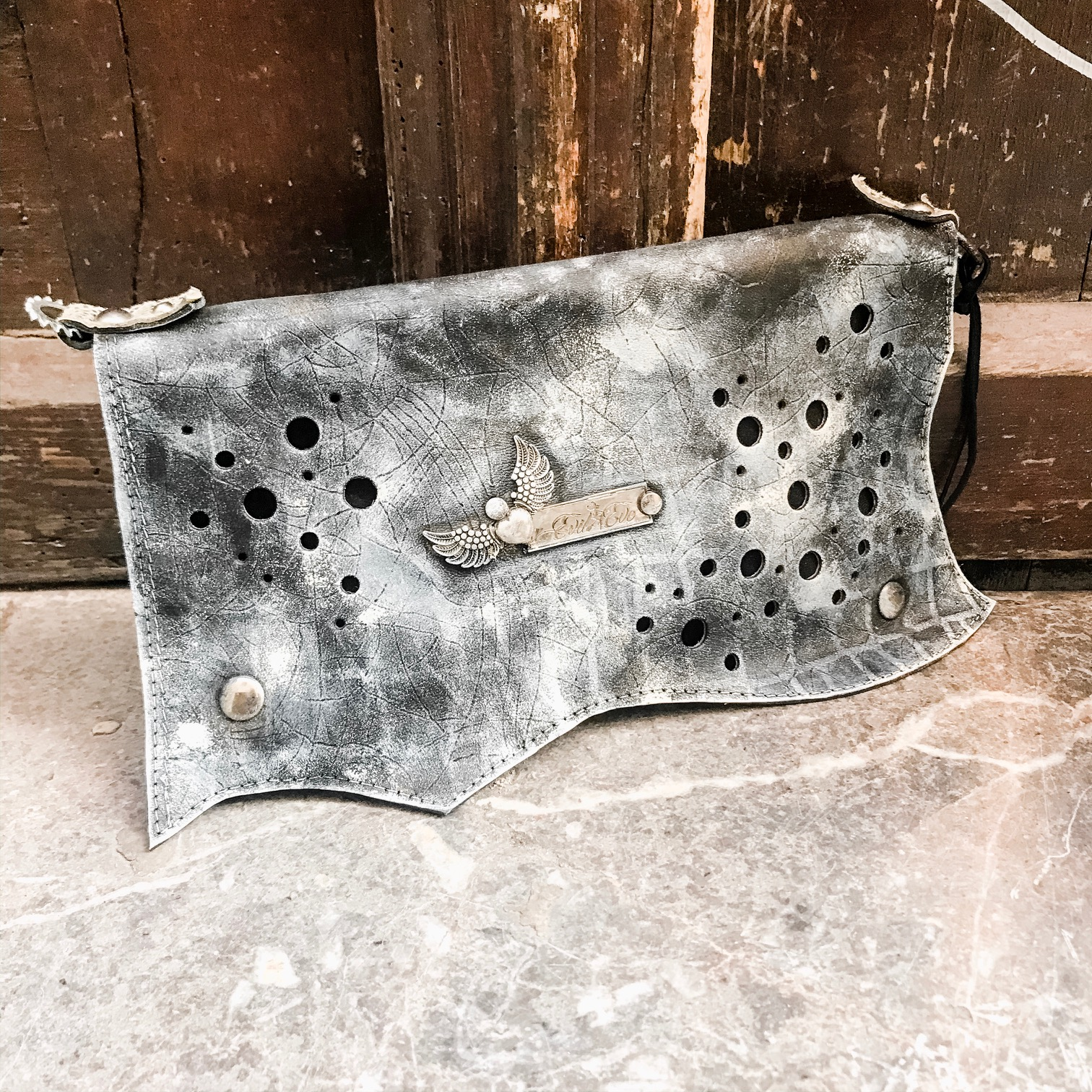unique leather clutch black pike evileve