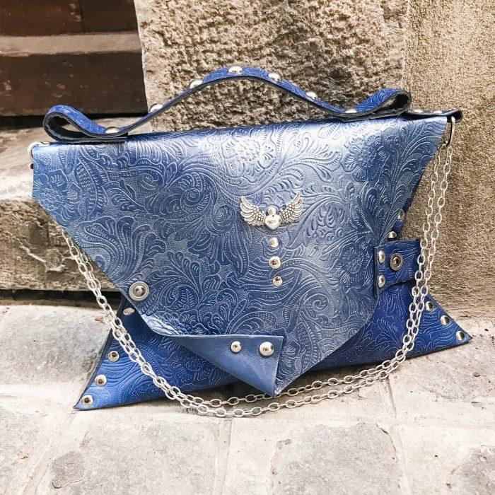unique leather clutch blue angel evileve
