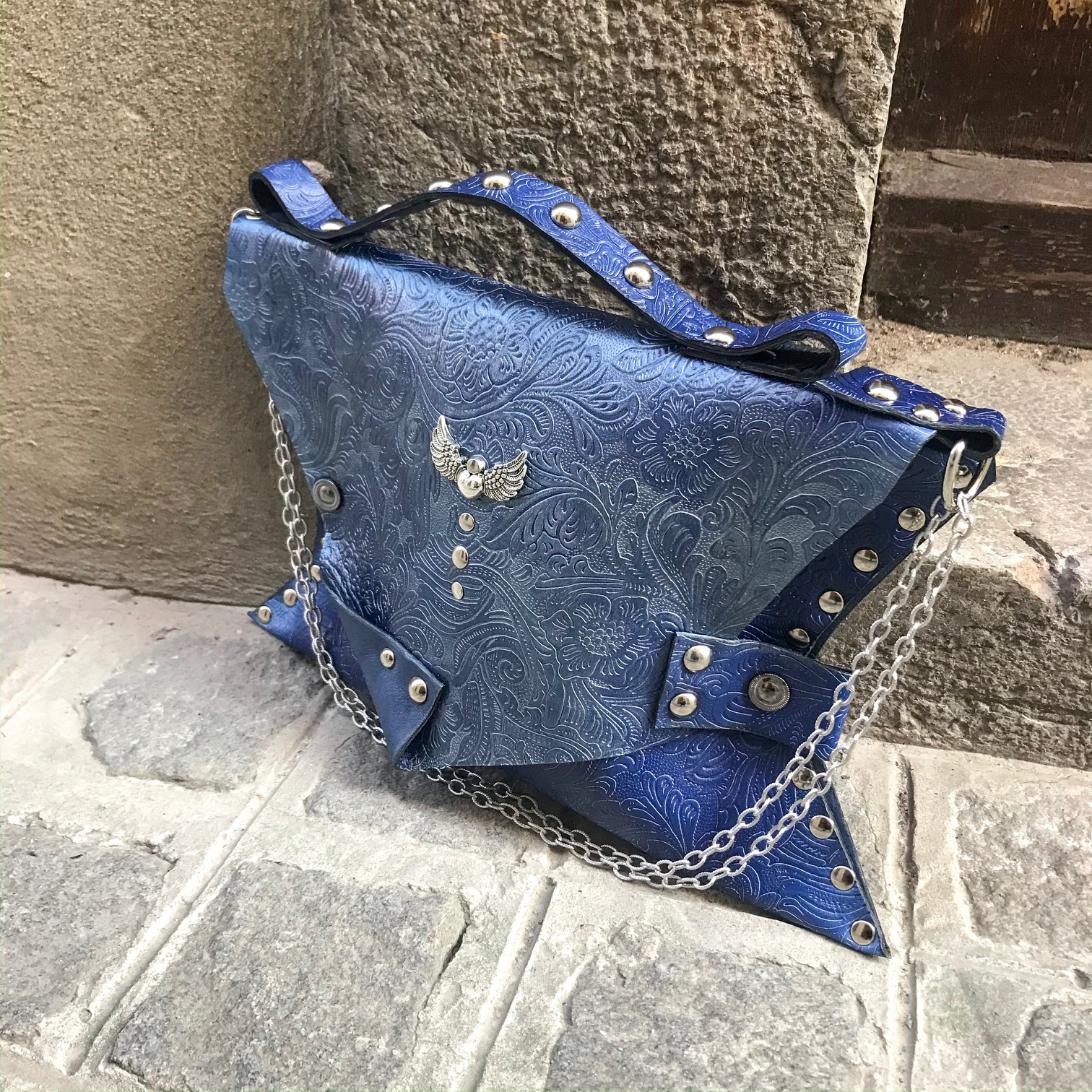 unique leather clutch blue angel evileve