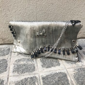 unique leather clutch silver dare evileve