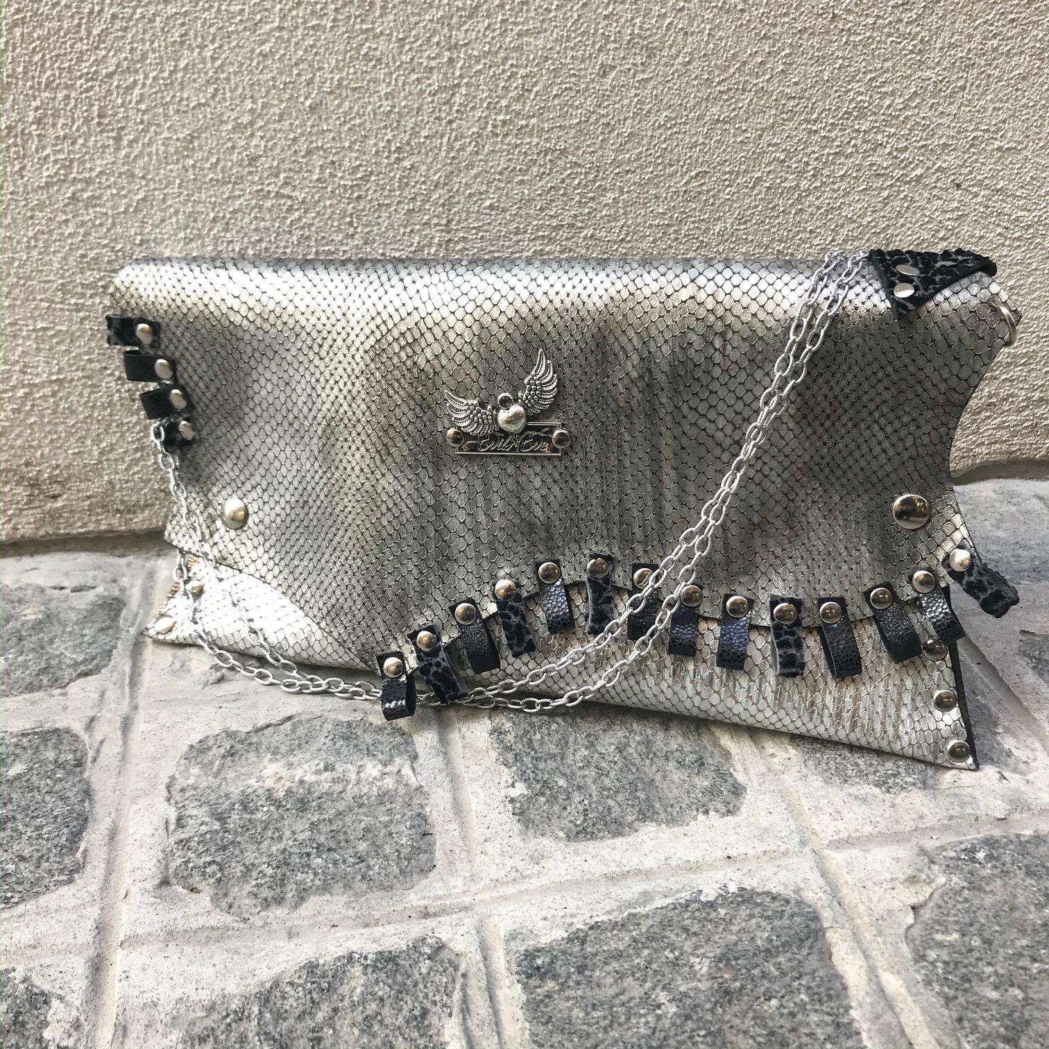 unique leather clutch silver dare evileve
