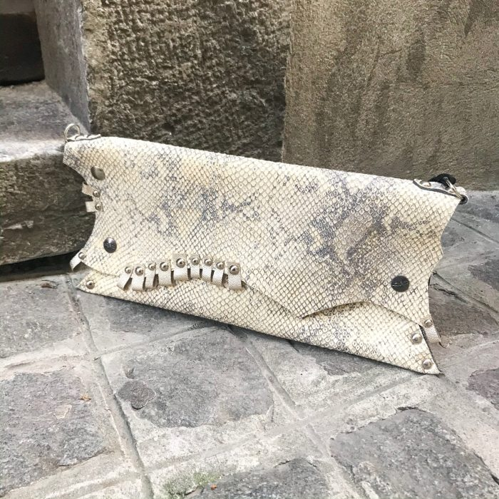 unique leather clutch Beige Love evileve
