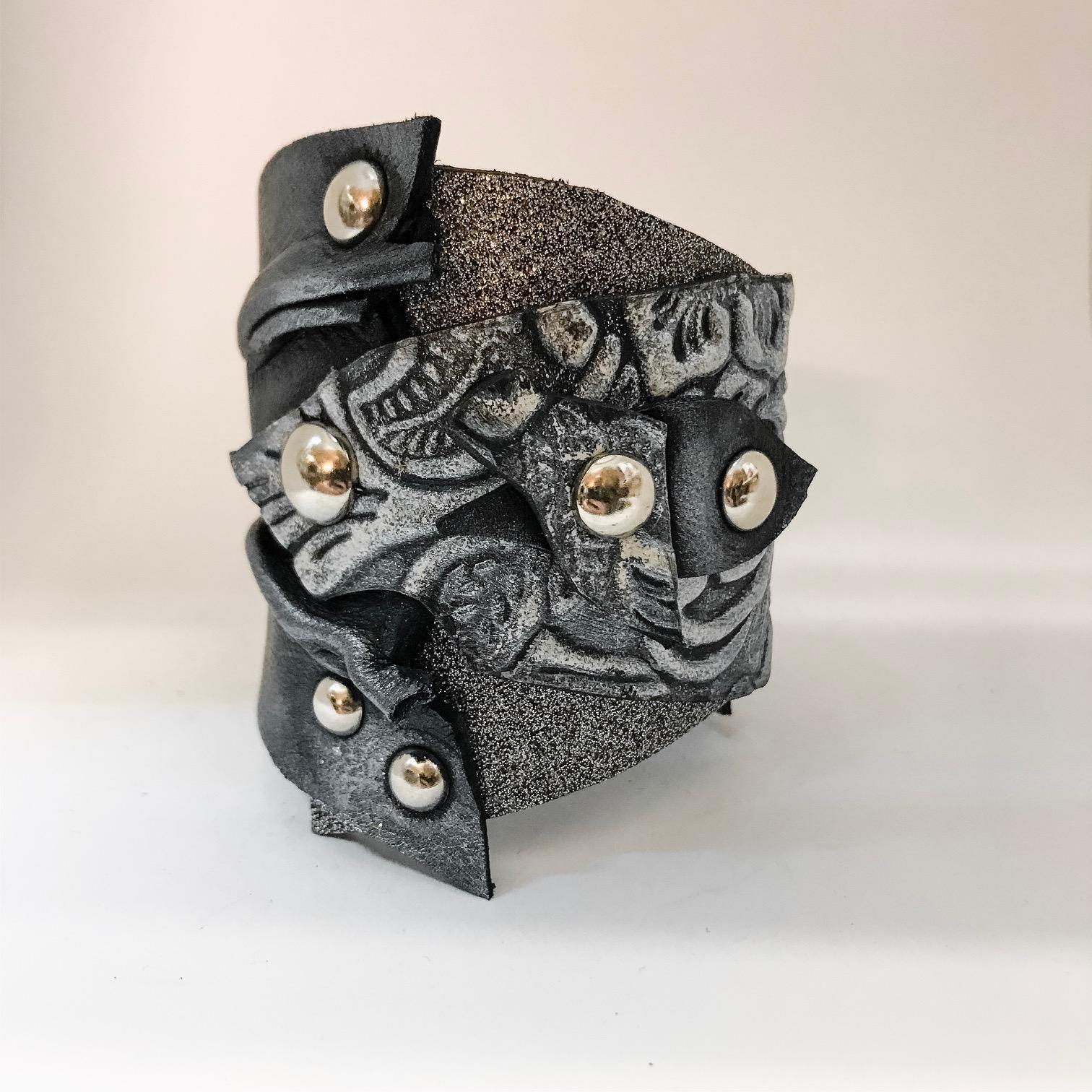 unique leather bracelet smokie glitter evileve