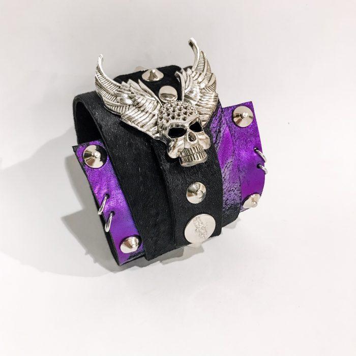 rocker skull wrap around leather bracelet evileve