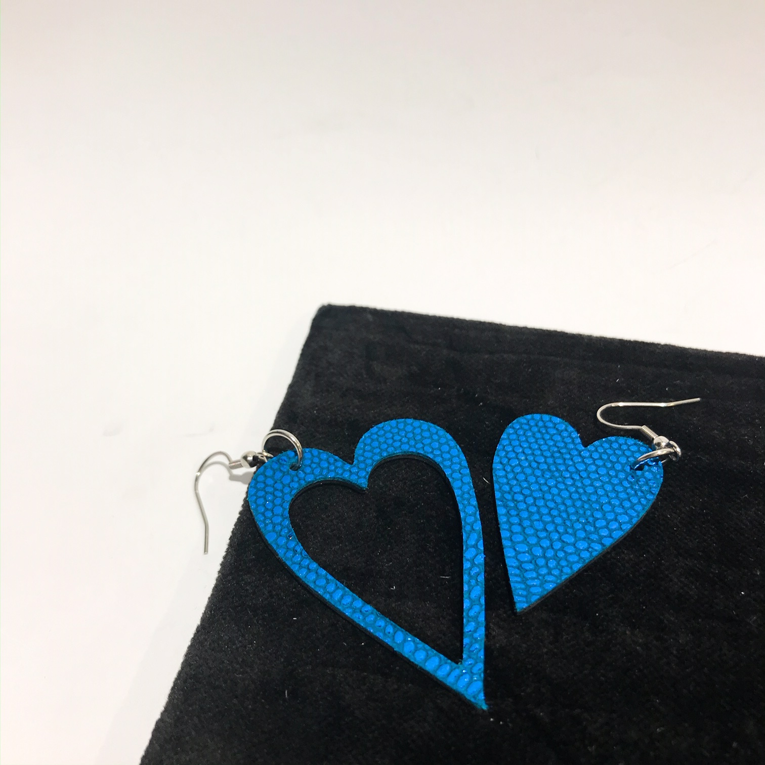 hearts classic blue leather and stainless steel earrings evileve