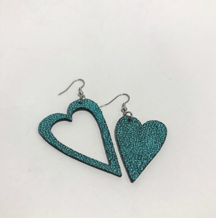 hearts azur glittery blue leather and stainless steel earrings evileve
