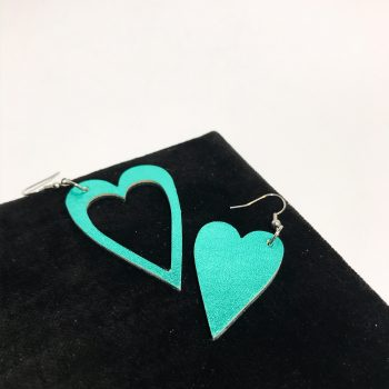 hearts azur leather and stainless steel earrings evileve