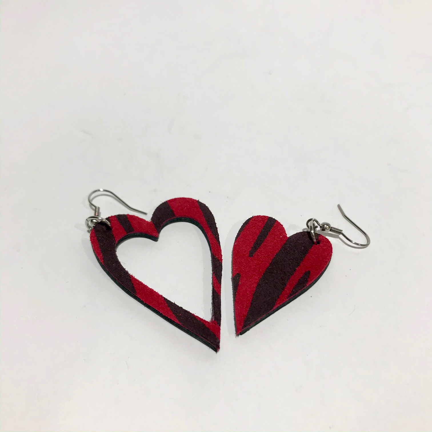 hearts red zebra leather and stainless steel earrings evileve