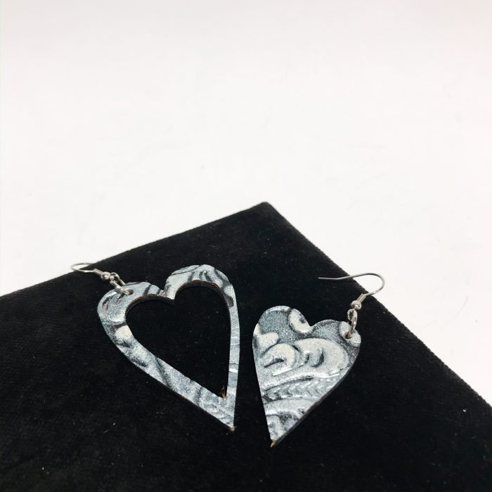 hearts chic leather and stainless steel earrings evileve
