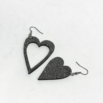 hearts glittery gray leather and stainless steel earrings evileve