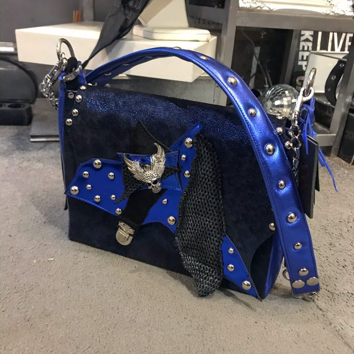 unique handmade leather messenger bag deep blue cavallino evileve