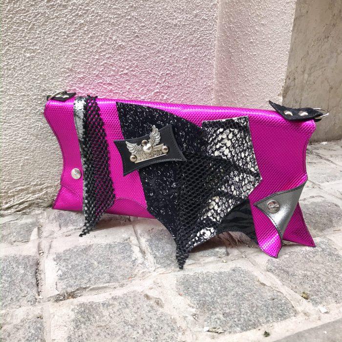 unique leather clutch hotpink fashion evileve