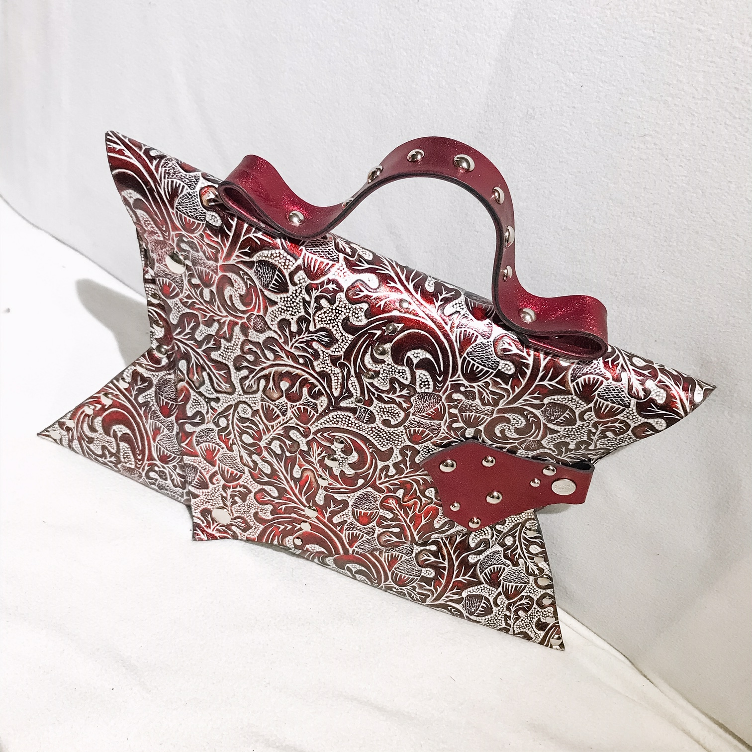 unique handmade leather clutch carmine angel evileve