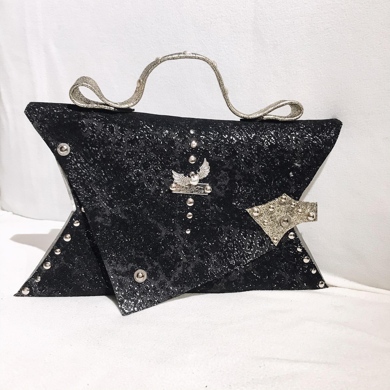 unique handmade leather clutch black passion angel evileve