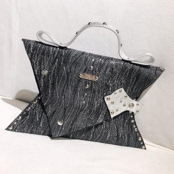 unique handmade leather clutch glittery gray angel evileve