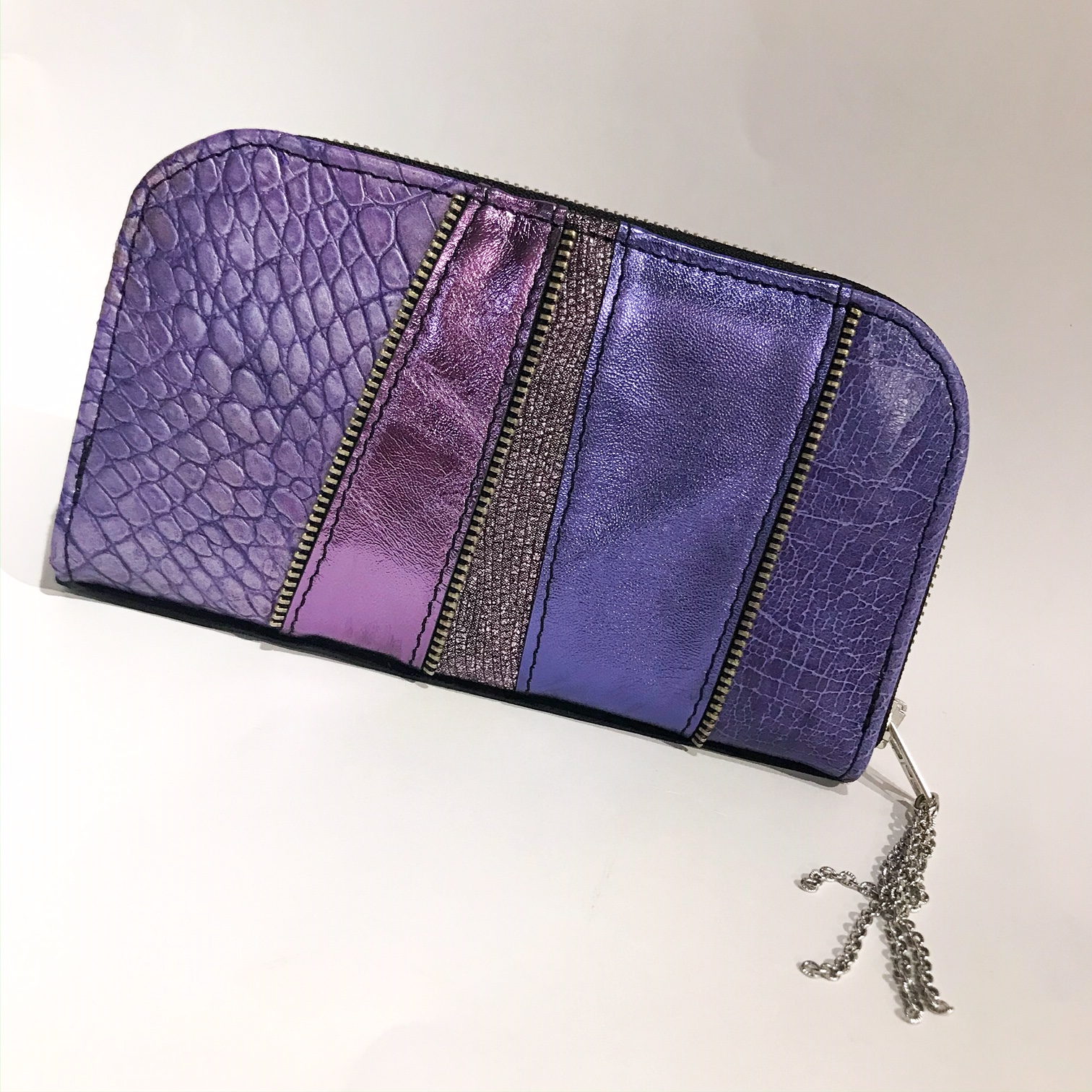 purple maxi chic leather wallet evileve