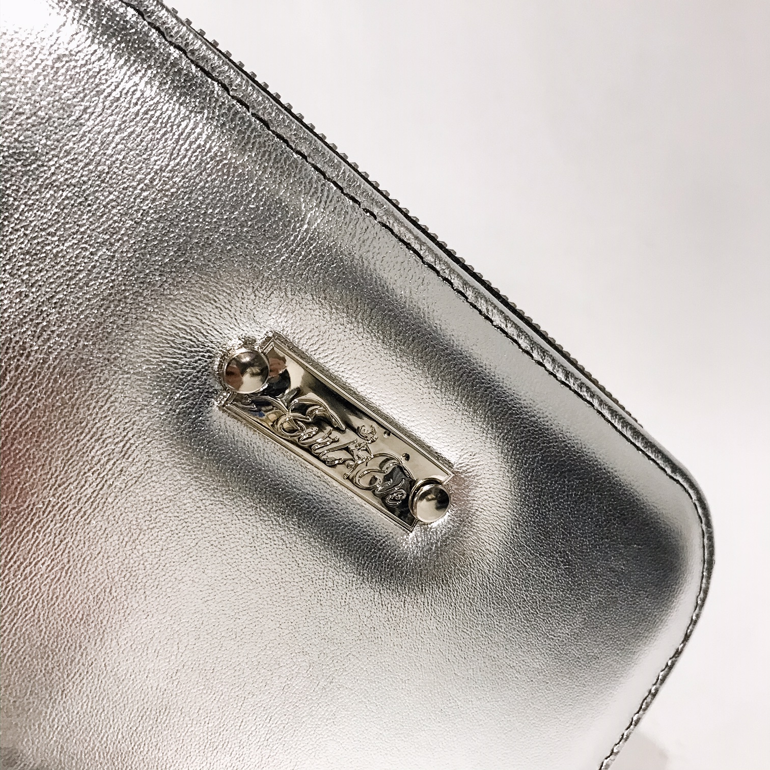 silver maxi chic leather wallet evileve