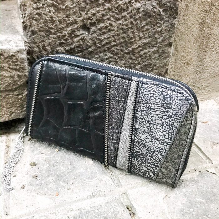 gray black chic maxi leather wallet evileve