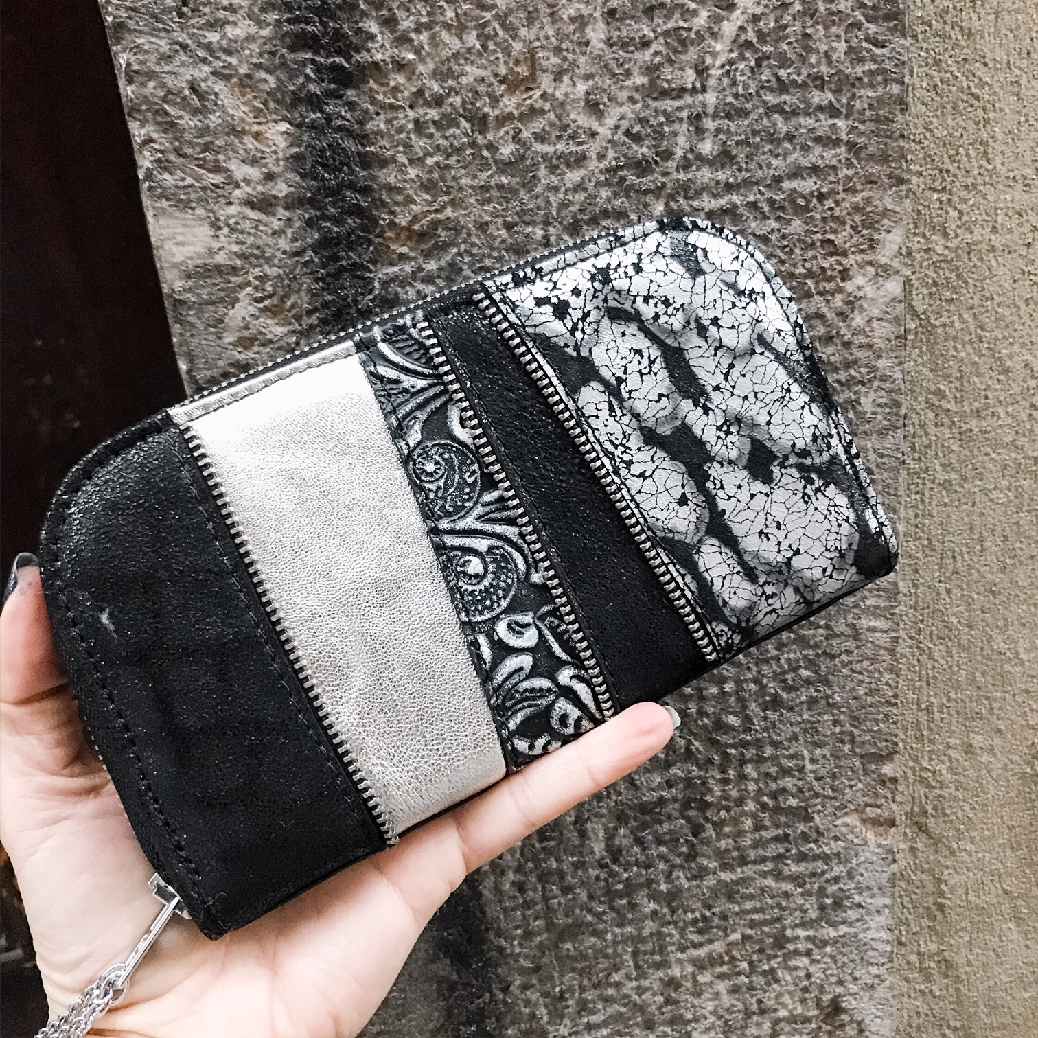 platinum mix maxi chic leather wallet evileve