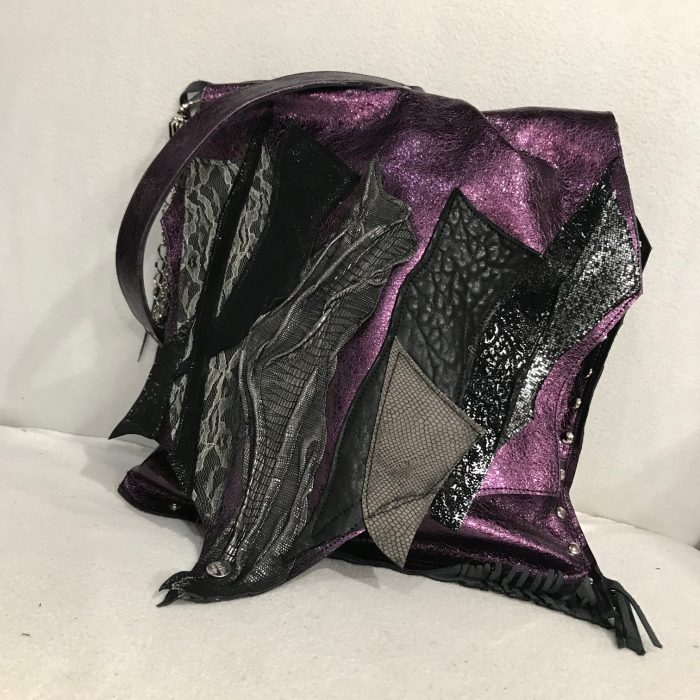tote bag purple leather and lace evileve