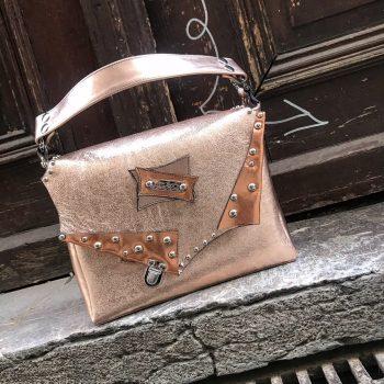 unique handmade leather messenger bag rosegold evileve