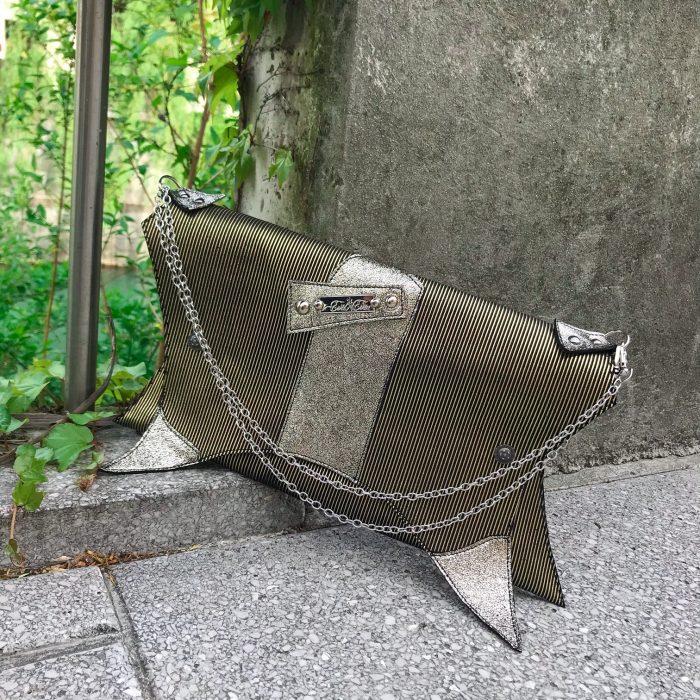 unique handmade leather clutch sandy stripes evileve
